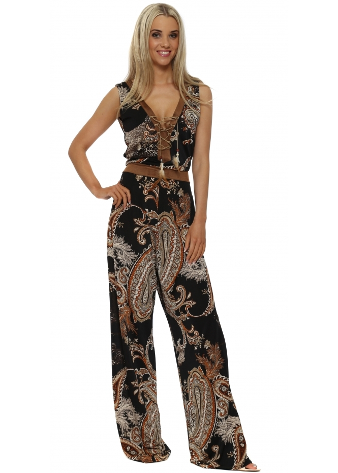 French Boutique Suede Trimmed Tie Neck Black Paisley Jumpsuit