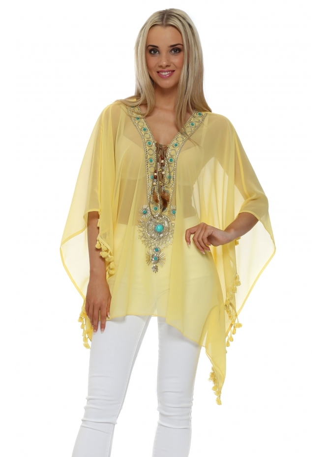 My Story Yellow Turquoise Beaded Kaftan Top