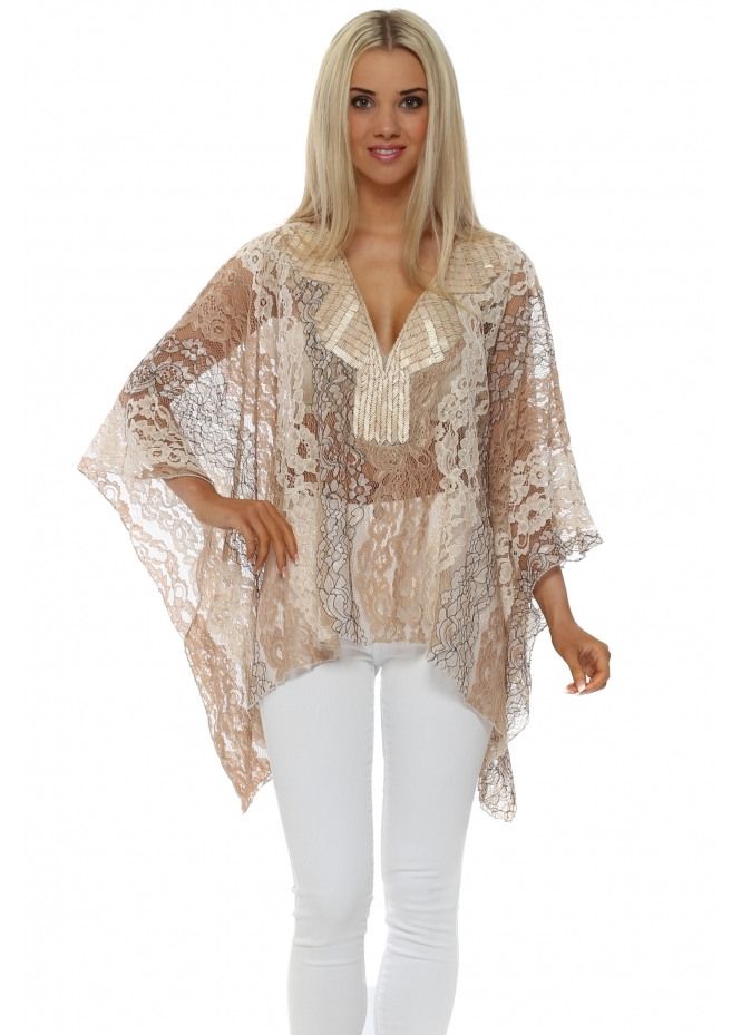 My Story Beige Lace Beaded Neckline Top