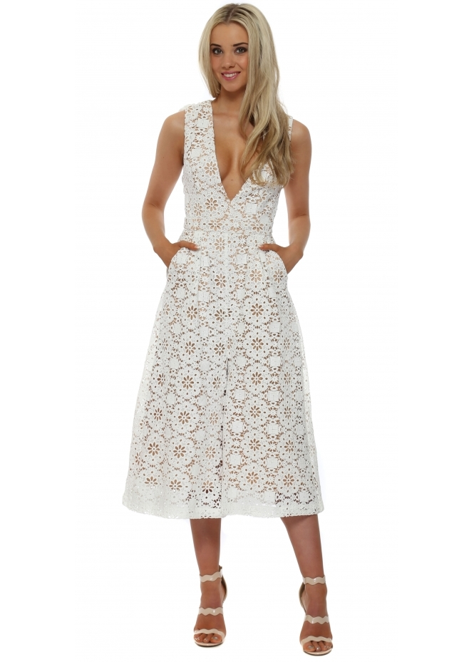 The 8th Sign White Lace Nova Culotte Dress