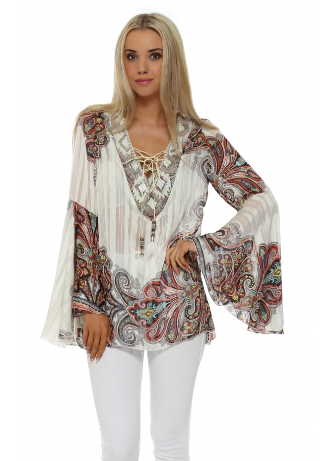 My Story Paisley Beaded Tie Neck Bell Sleeve Top