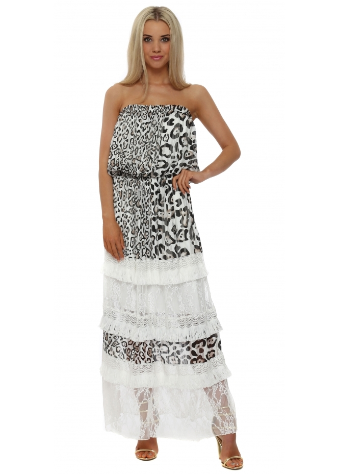 My Story Leopard Print Tiered Lace Bandeau Maxi Dress