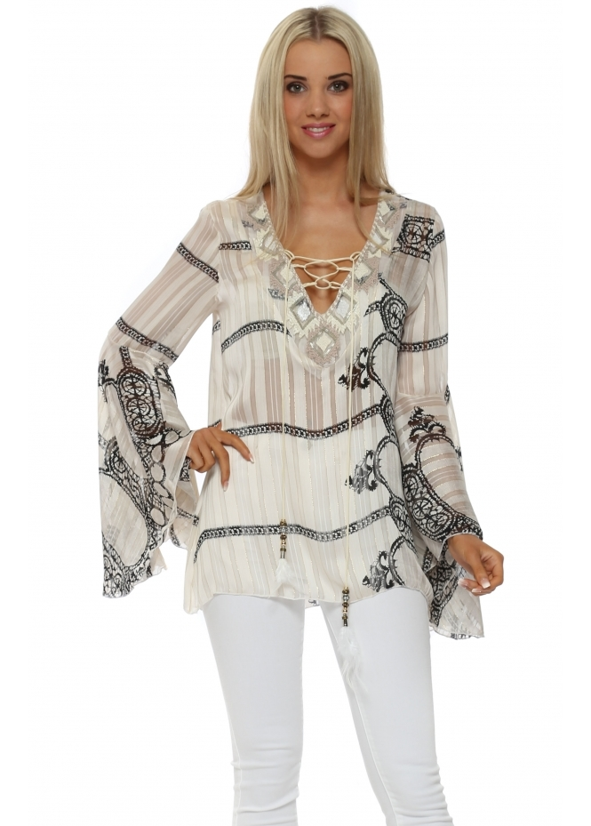 My Story Beige Abstract Beaded Tie Neck Bell Sleeve Top