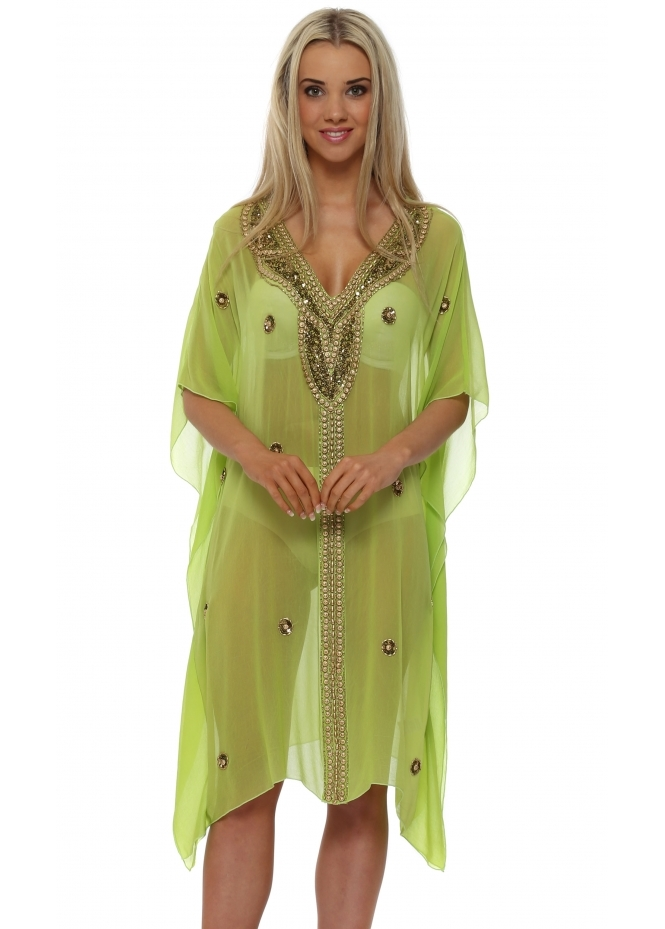 Chiktones Lime Gold Sequin Crystal & Beaded Kaftan