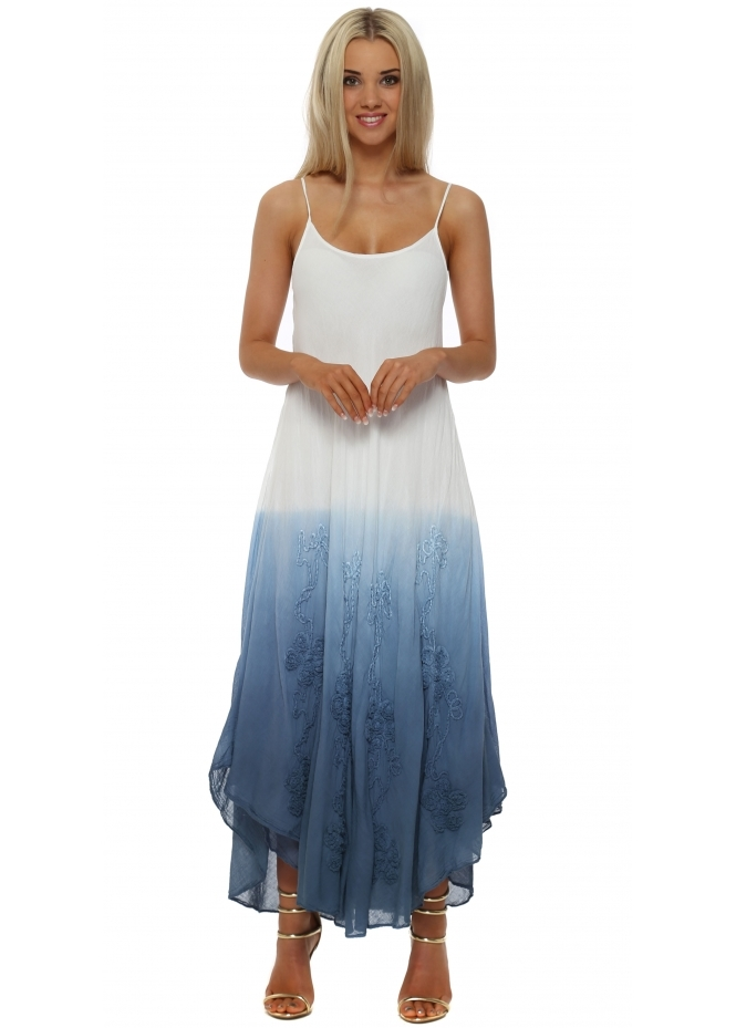 Italian Boutique Blue & White Embroidered Cotton Maxi Dress