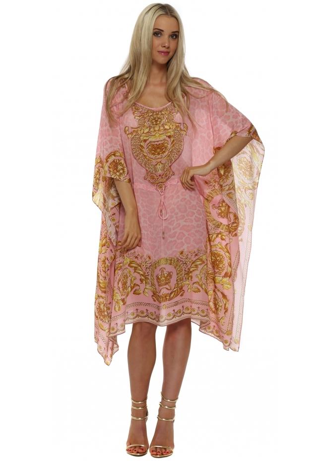 Woodford & Reay Wild Baroque Pink & Gold Silk Drawstring Kaftan