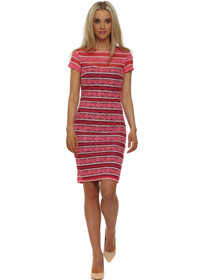 Paper Dolls Pink Stripe Lace Bodycon Dress