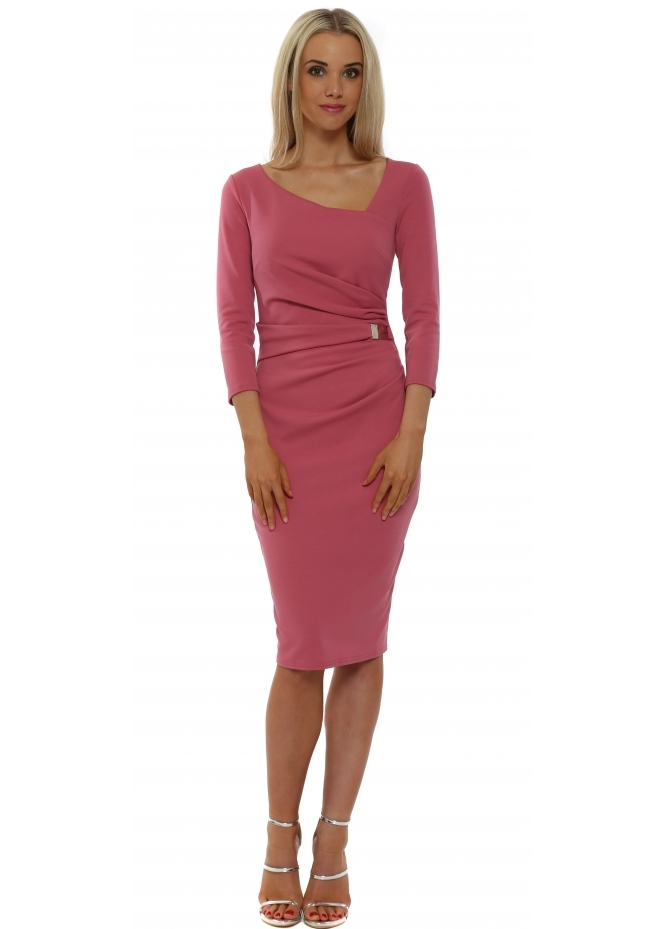 Goddess London Dusky Pink Buckle Waist Pencil Dress