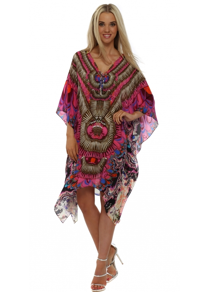 Woodford & Reay Ablaze Tribal Pink Short Silk Kaftan