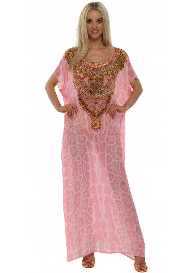 Woodford & Reay Dubai Baby Pink Leopard Crystal Silk Maxi Kaftan