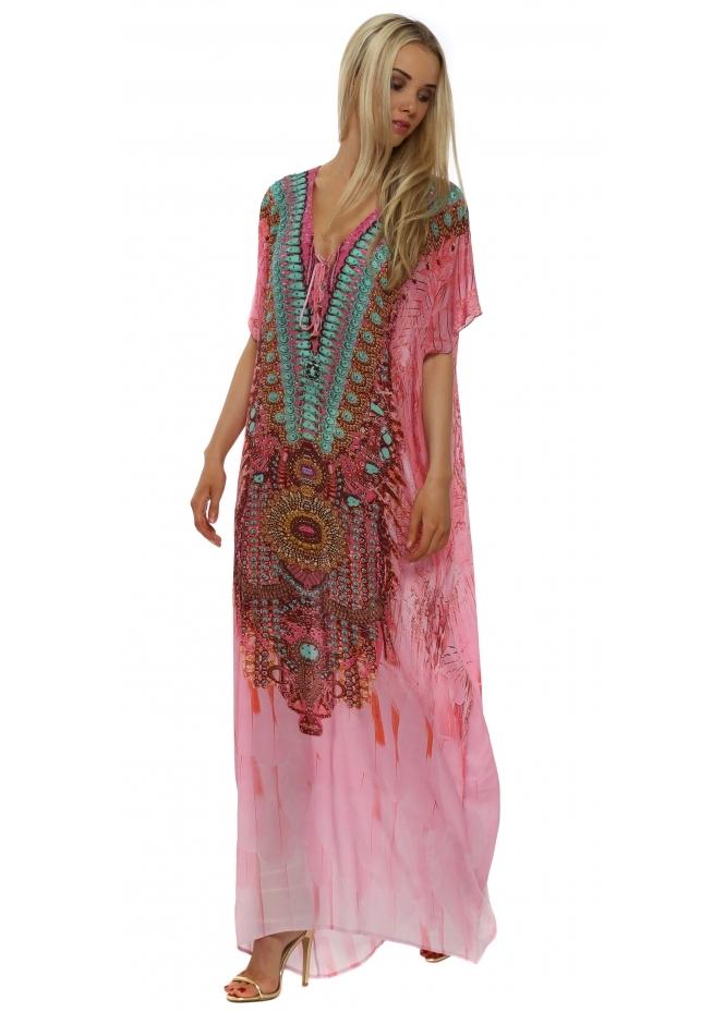Woodford & Reay Ablaze Gilded Aqua & Pink Crystal Silk Maxi Kaftan