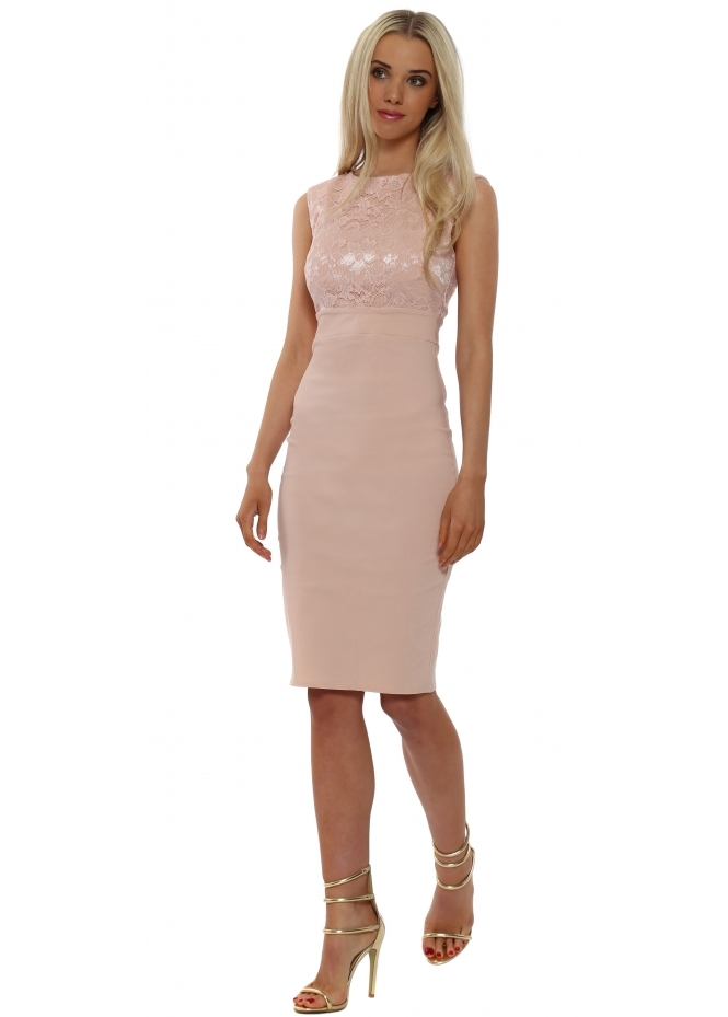Goddess London Nude Lace Bodice Sleeveless Pencil Dress
