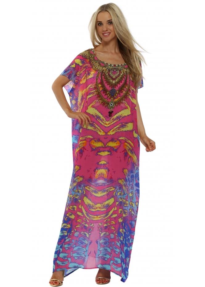 Woodford & Reay Ablaze Atlantic Pink Jewel Print Maxi Kaftan