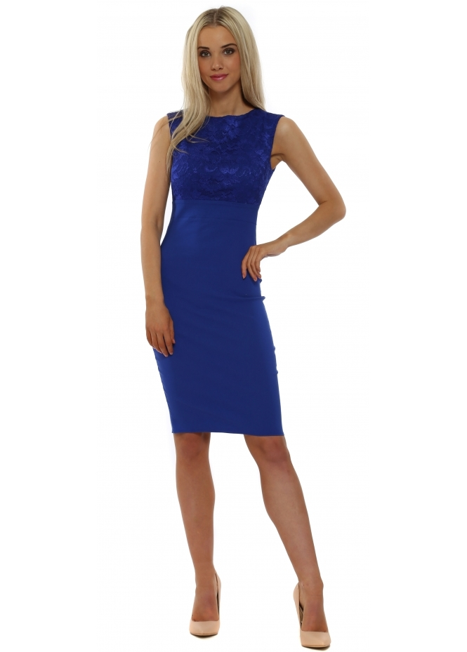 Goddess London Cobalt Lace Bodice Sleeveless Pencil Dress