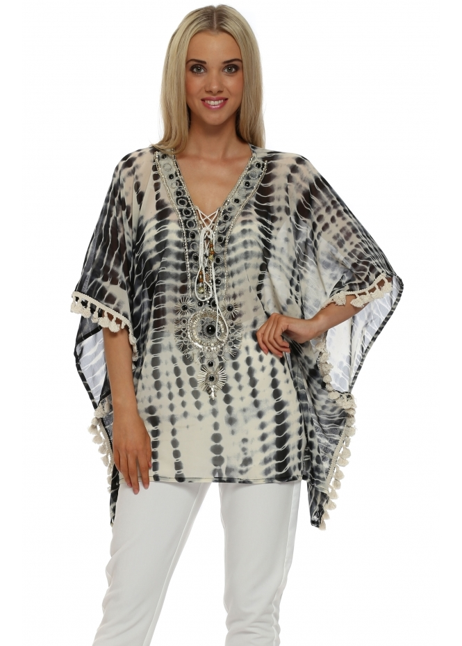 Just M Paris Black Tie Dye Beaded Kaftan Top