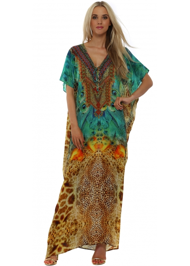 Woodford & Reay Ablaze Ocelot Silk Crystal Maxi Kaftan Dress