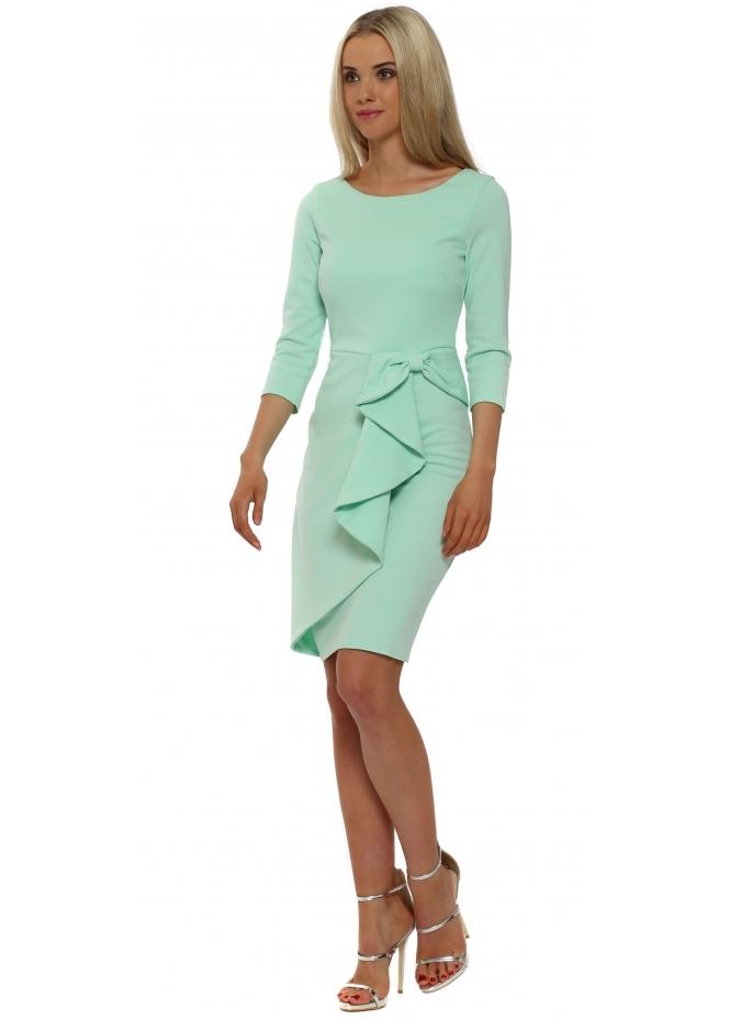 Goddess London Mint Green Bow Waterfall Peplum Pencil Dress