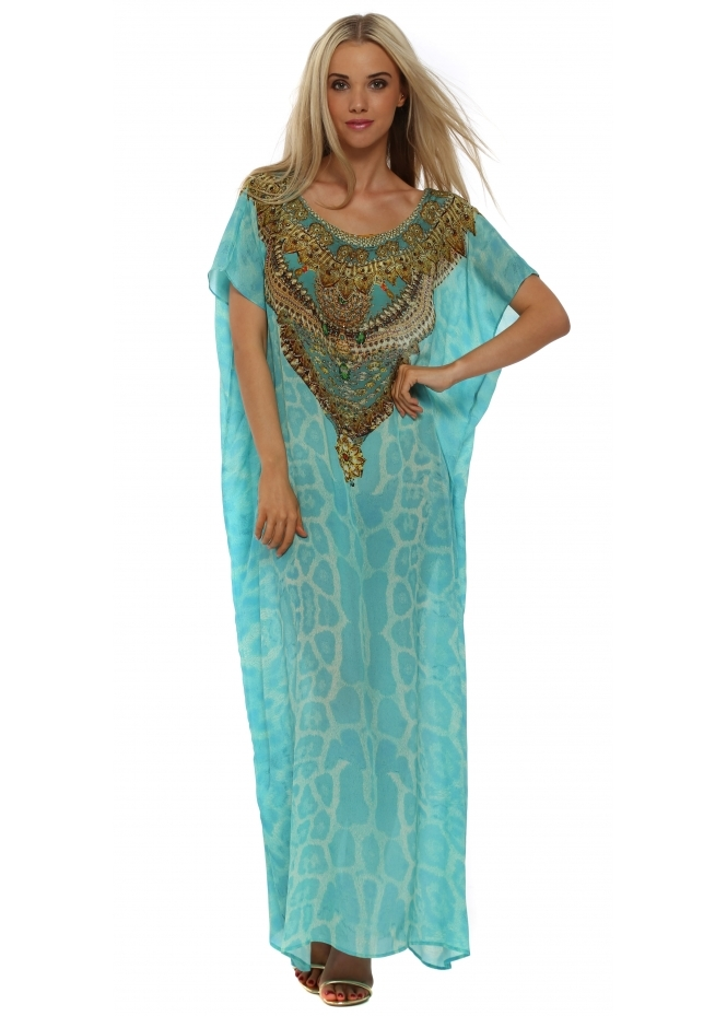 Woodford & Reay Wild Baroque Dubai Aqua & Gold Silk Crystal Maxi Kaftan