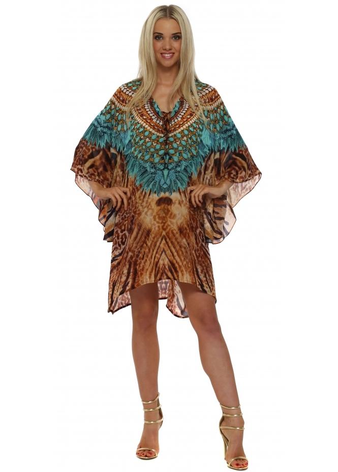 Woodford & Reay Ablaze Soul Turquoise Leopard Print Short Silk Kaftan