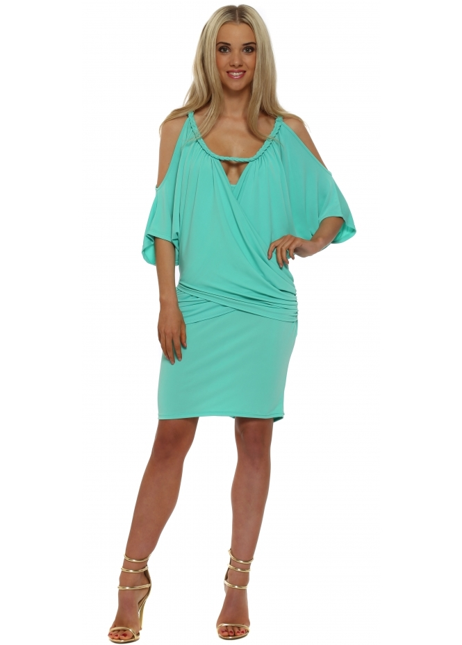 My Story Turquoise Gold Chain Draped Tunic Dress
