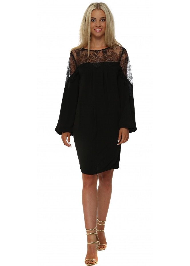 Faust Black Lace Bodice Crepe Shift Dress