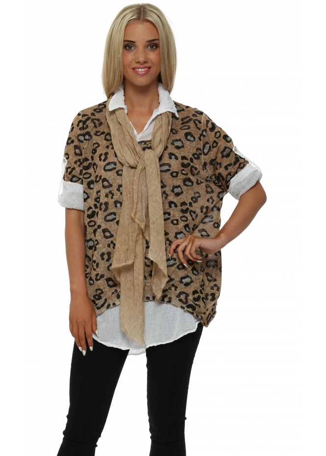 Italian Boutique Amber Leopard Print Knit Shirt Top With Scarf
