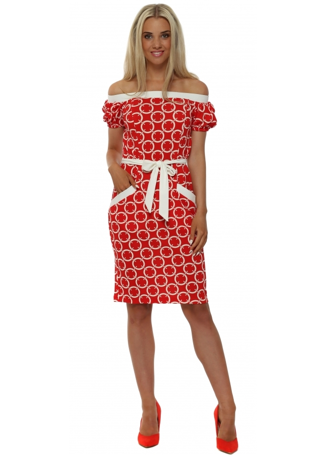 Faust Red Circles Tie Waist Midi Dress