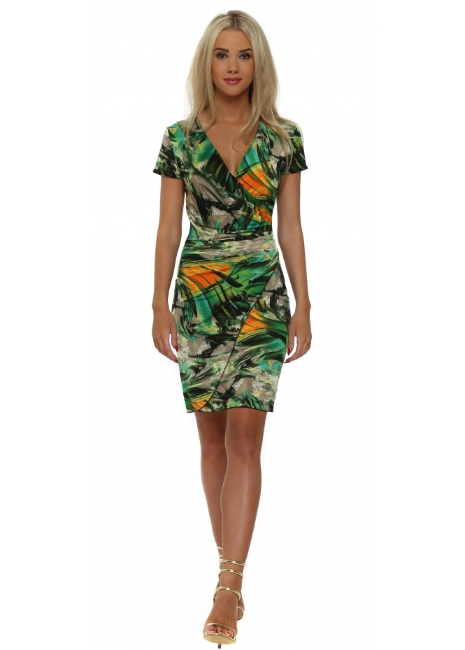 Lonkel Green Palm Print Short Sleeve Wrap Dress