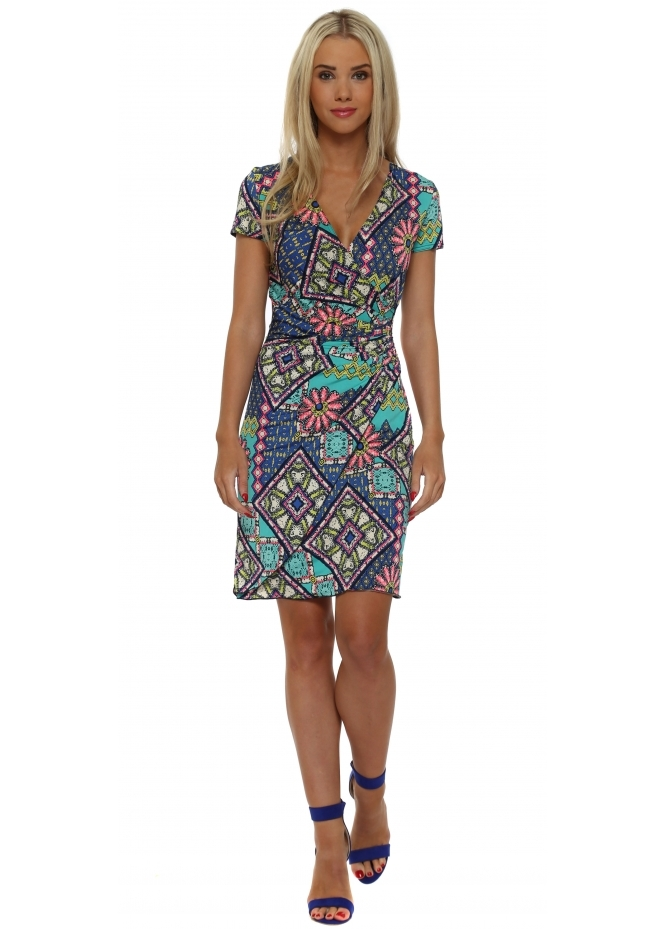 Lonkel Turquoise & Blue Floral Print Wrap Dress