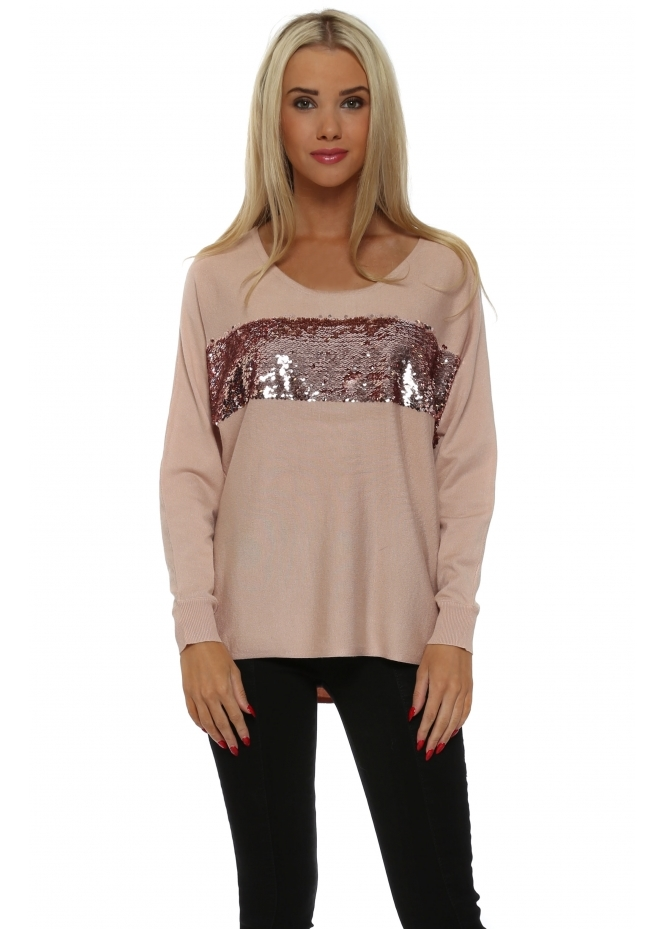 JS Millenium Long Sleeved Pink Sequin Band Jumper