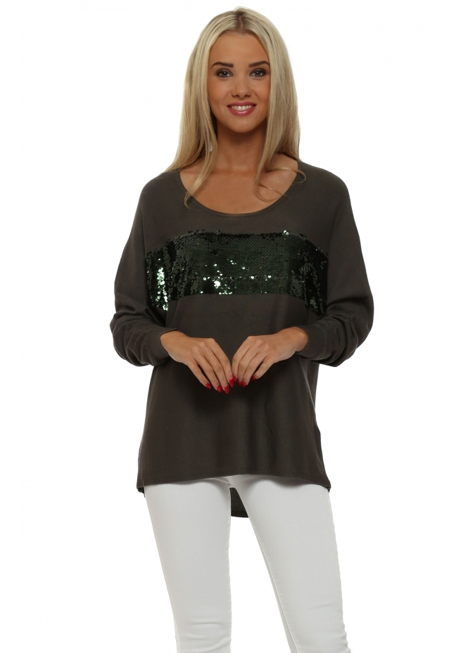 JS Millenium Long Sleeved Khaki Sequin Band Jumper
