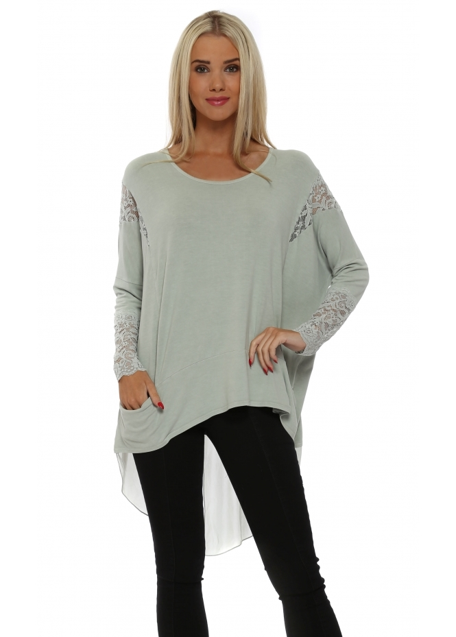 A Postcard From Brighton Tammy Pistachio Mesh & Lace Dip Hem Top