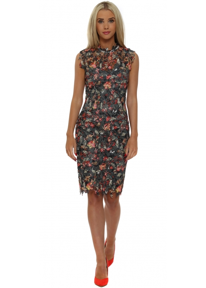 Paper Dolls Floral Crochet Lace Mandarin Pencil Dress
