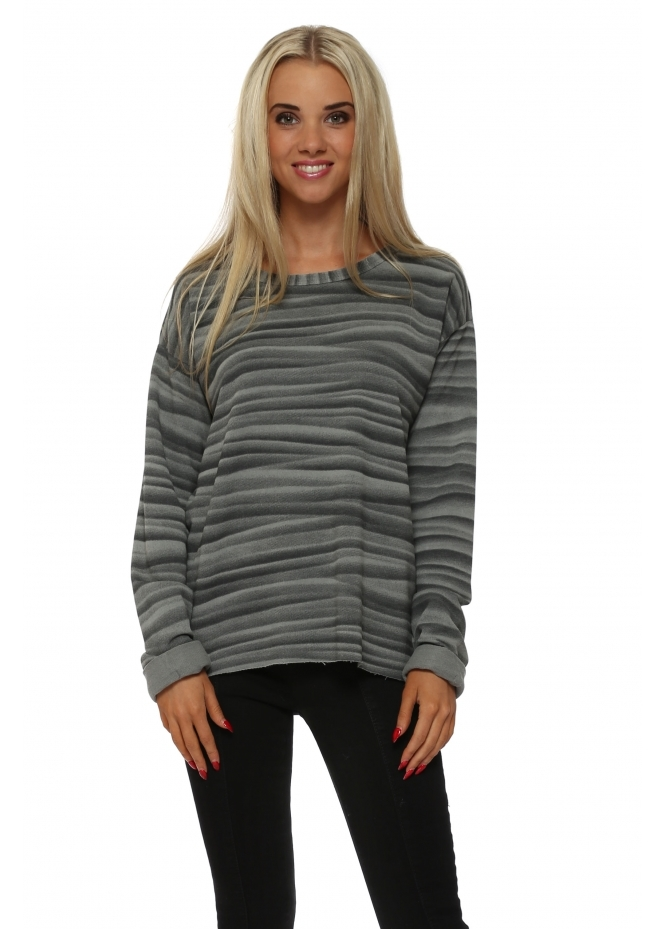 A Postcard From Brighton Vixen Veiled Mist Raw Edge Sweater In Smokey