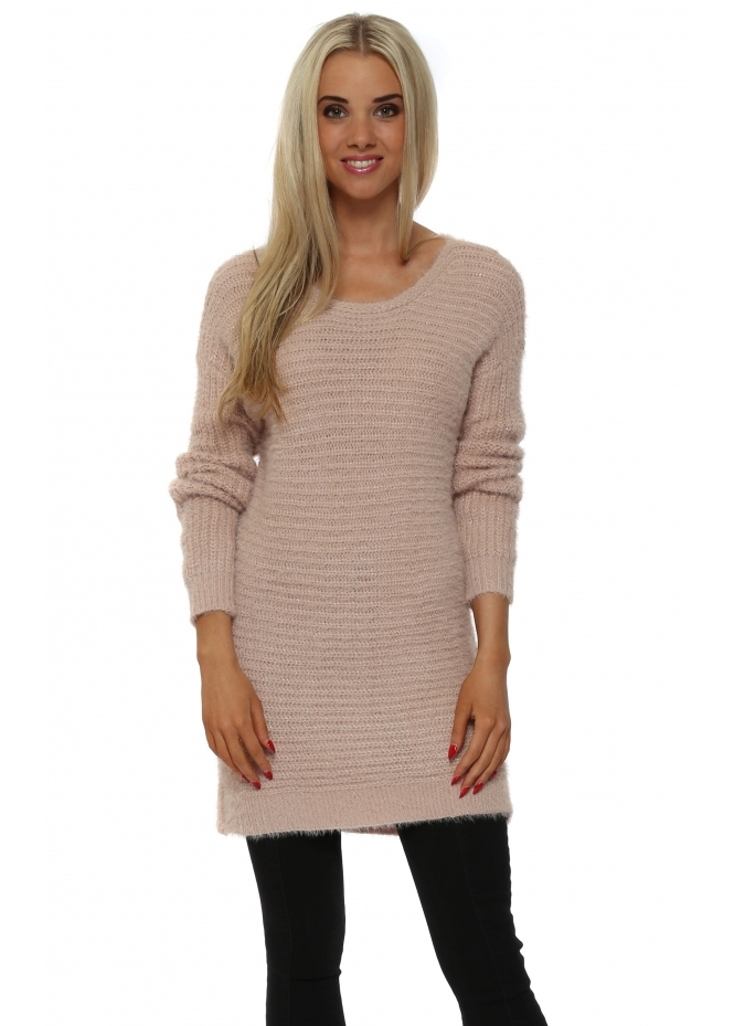 French Boutique Pink Ribbed Lurex Long Sleeved Jumper