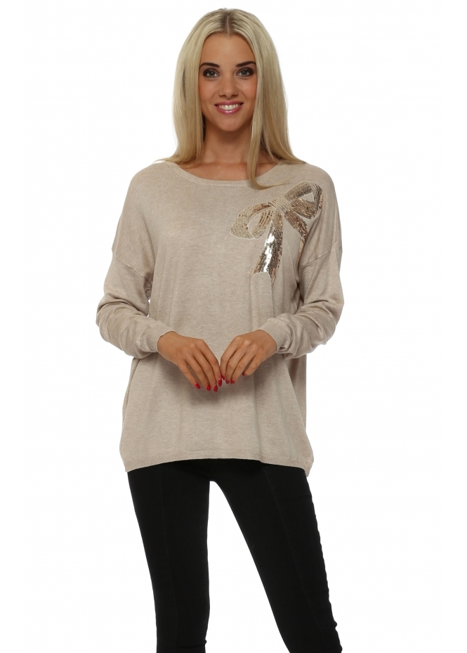 JS Millenium Beige Sequinned Bow Fine Knit Jumper