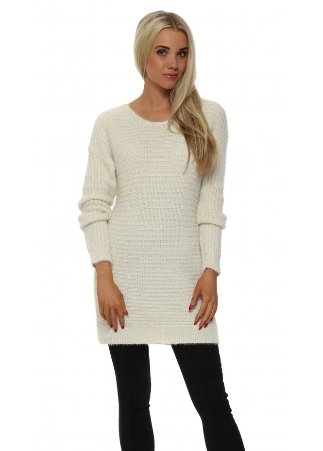 French Boutique Cream Ribbed Lurex Long Sleeved Jumper