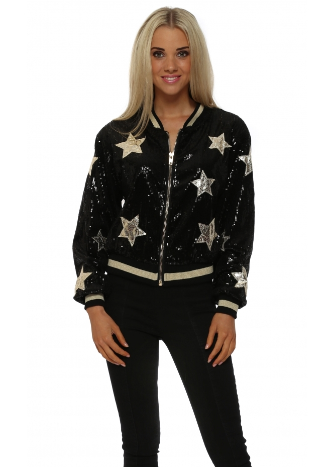 French Boutique Black Sequinned Gold Star Bomber Jacket