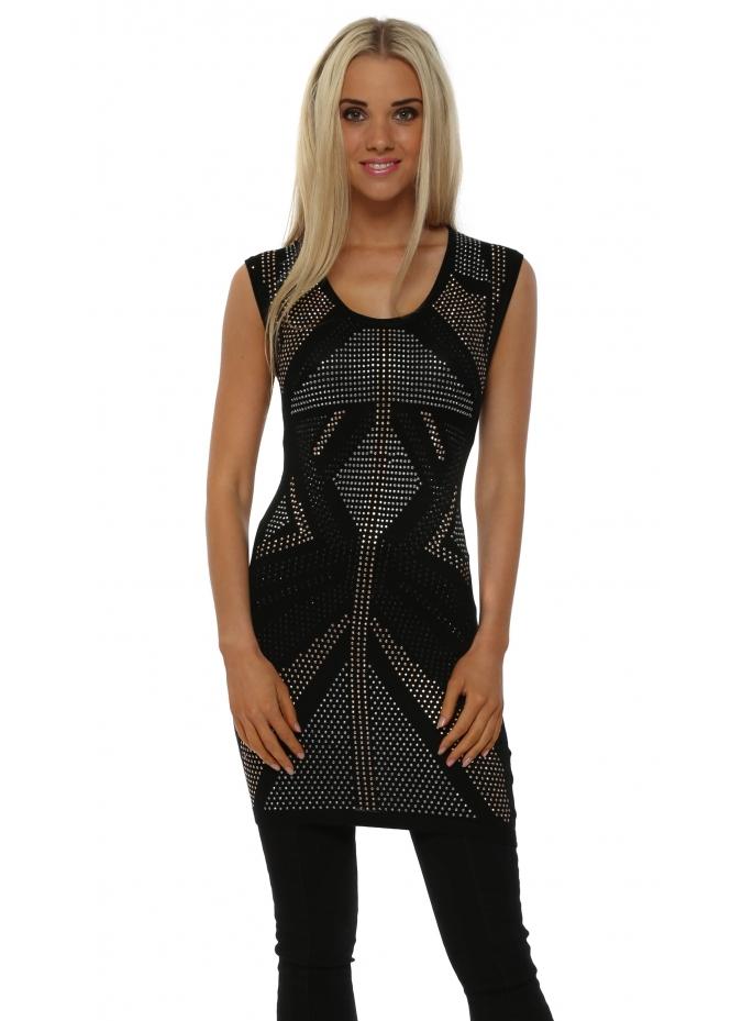 Laetitia Mem Black Studded Sleeveless Tunic Jumper