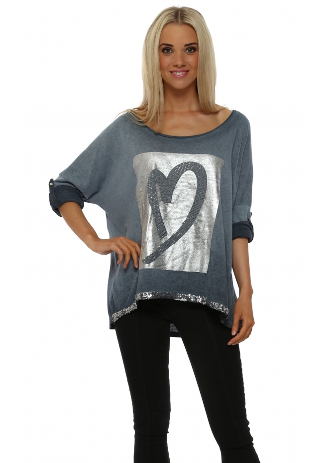 Pinka Petrol Blue Silver Foil Heart Sweater