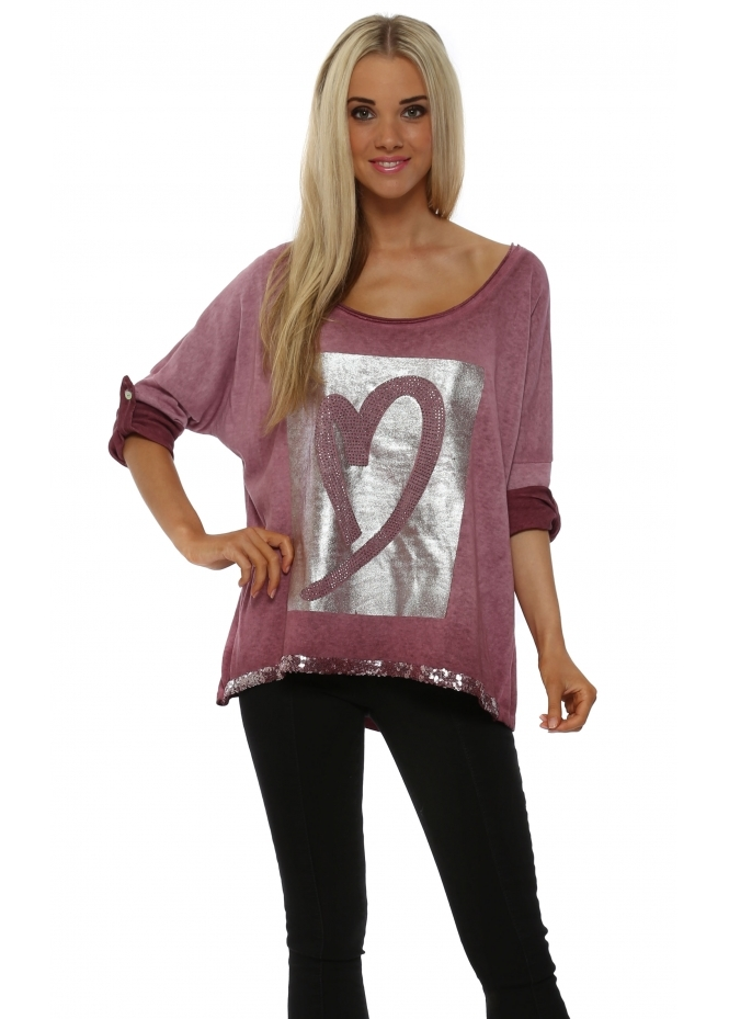 Pinka Raspberry Pink Silver Foil Heart Sweater