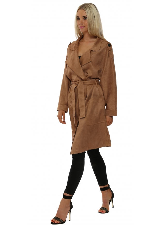L'Olive Verte Soft Tan Suede Trench Mac Coat