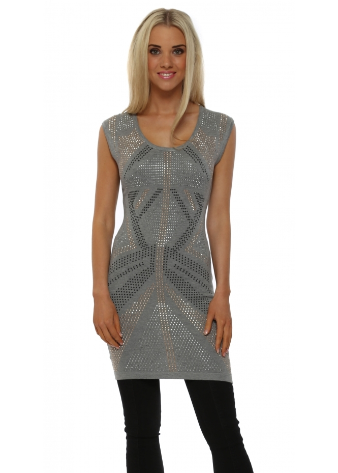 Laetitia Mem Grey Studded Sleeveless Tunic Jumper