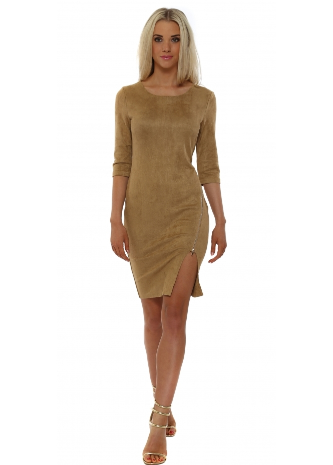French Boutique Tan Suede Asymmetric Gold Zip Dress
