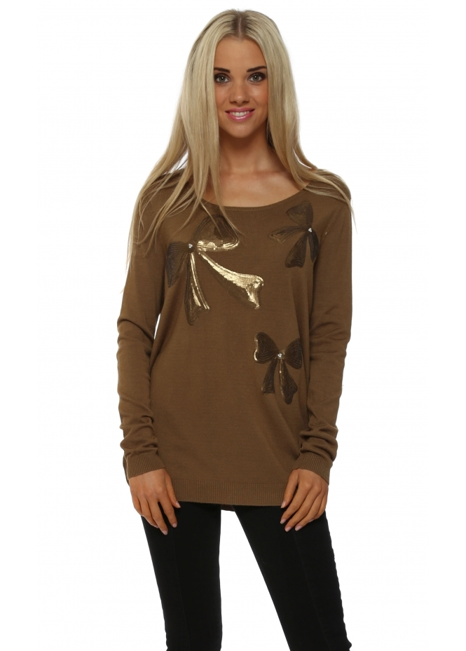 JS Millenium Khaki Three Sequinned Bows & Pearls Jumper