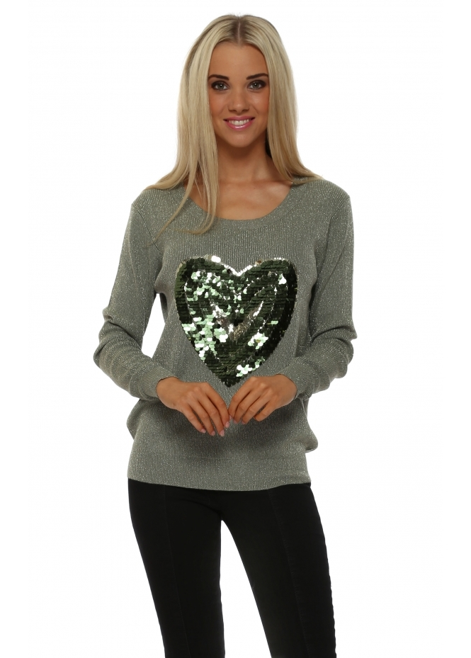 JS Millenium Green Lurex Tonal Sequinned Heart Jumper