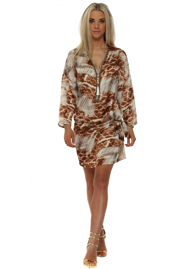 Just M Paris Tan Print Tie Side Zip Neck Tunic Dress