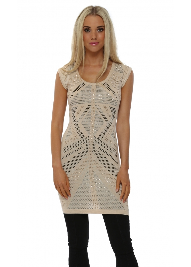 Laetitia Mem Beige Studded Sleeveless Tunic Jumper