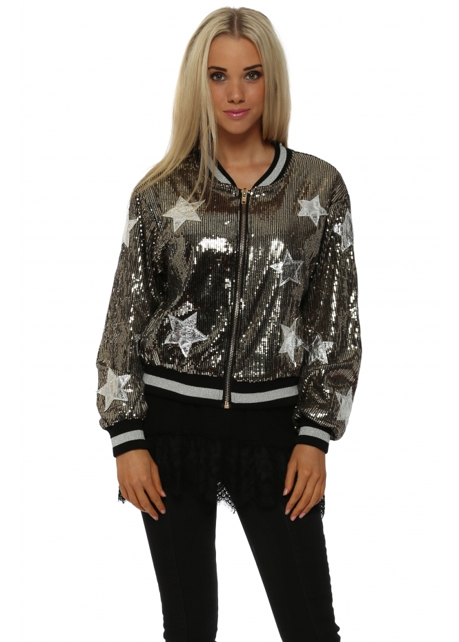 French Boutique French Sequinned Silver Star Bomber Jacket