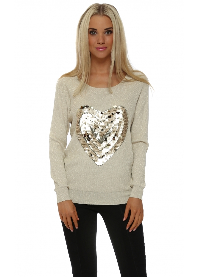 JS Millenium Cream Lurex Tonal Sequinned Heart Jumper